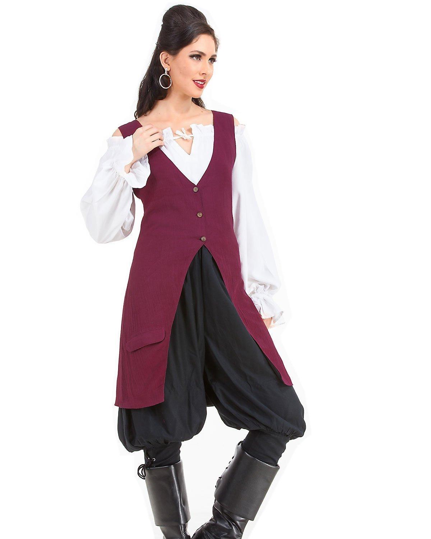 Elizabeth Pirate Renaissance Medieval Womens Costume Linen Vest (Large)