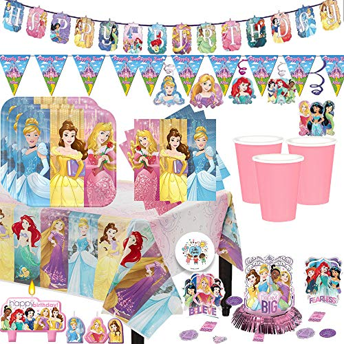 Mega Disney Princess Dream Big Birthday Party Supplies Pack For 16 Guests With Birthday Banner, Pennant, Plates, Napkins, Cups, Candles, Tablecover, Swirls, Table Decorating Kit, and Exclusive Pin