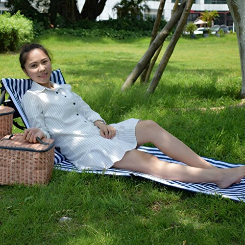 Beach Chair Beach Lounger Outdoor Portable Mat Reclining Lounge Chair Tote Extra Thick Adjustable Backrest By ABNII