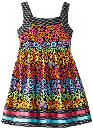 Youngland Little Girls' Neon Flower Print with Dot Trim Dress, Black/Multi, 6X
