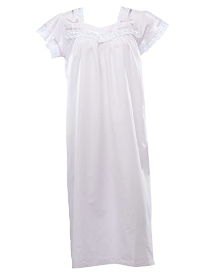 d791f56fe0 Ladies Traditional Nightdress 100% Cotton Short Sleeve Broderie Anglaise Trim  Nightie Small (Pink)