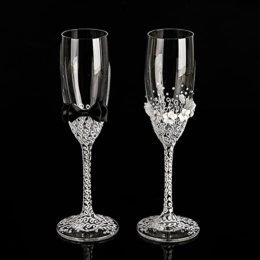 His and Hers wedding glasses set handmade bride and groom flutes