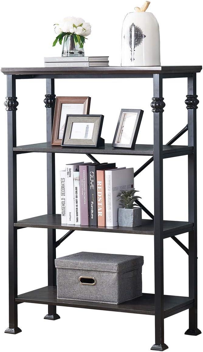 O K FURNITURE 4-Tier Vintage Industrial Style Bookshelf, Wood and Metal Bookcase Storage Shelves, Black-Espresso