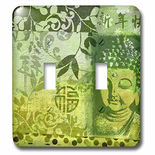 3dRose Andrea Haase Illustration Zen Buddha - Mixed media art Buddha and Chinese calligraphy in shades of green - Light Switch Covers - double toggle switch (lsp_261649_2) by 3dRose