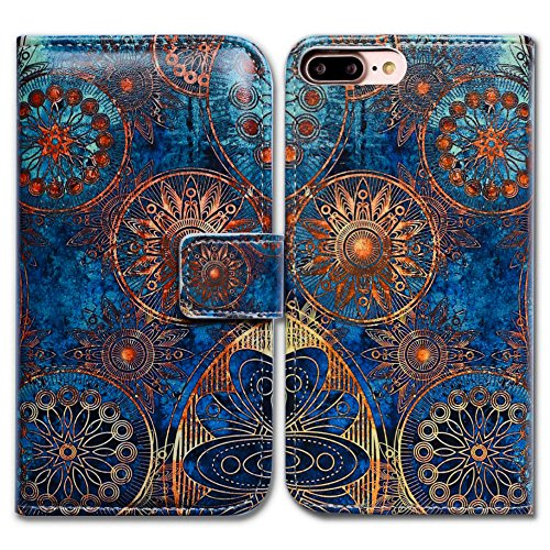 iPhone 7 Plus Case,Bfun Packing Bcov Gorgeous Colours Circle Card Slot Wallet Leather Cover Case For iPhone 7 Plus