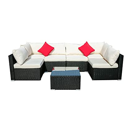 Groovy Wonlink 7Pc Patio Furniture Sets White Wicker Outside Patio Furniture Sectional Patio Sofa Rattan Garden Sectional Furniture Set Garden Lawn Pool Unemploymentrelief Wooden Chair Designs For Living Room Unemploymentrelieforg
