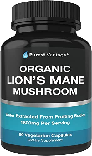 Organic Lions Mane Mushroom Capsules – 1800mg Lion s Mane Mushroom Supplement Grown in USA – Nootropic Brain Supplement and Immune System Booster – Lions Mane Extract Powder – 90 Veggie Caps