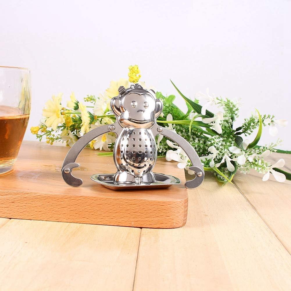 difusor colador de bola cocina lindo mono infusor de hojas de t/é sueltas oficina especias a base de hierbas para el hogar Colador de t/é de acero inoxidable f/ácil de usar filtro