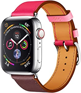 EloBeth for Apple Watch Band 40mm Series 6 5 4 / Apple Watch Band 38mm Series 3 2 1 Men Women Leather Replacement iWatch Wristband (38mm/40mm Pink/Brown)