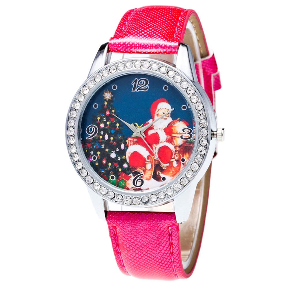 Christmas Pattern Rhinestone Dial Faux Leather Strap Couples Analog Quartz Wristwatch