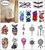 COKOHAPPY 16 Sheets Large Temporary Tattoo for Girl Women Arm Shoulder Flower, Lotus, Dream Catcher, Mandala, Butterfly, Mermaid, Tribal Symbols