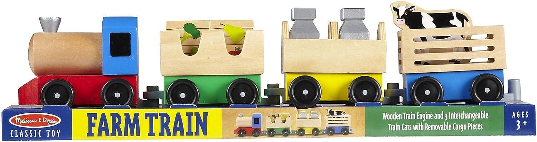 Amazon Com Melissa Doug Wooden Farm Train Classic Toy Free Scratch Art Mini Pad Bundle 45452 Toys Games