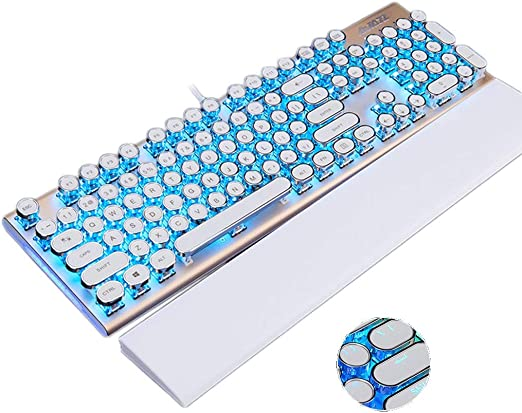 Color : Plating Square Platinum ice Blue Mechanical Keyboard Cable Esports Game Shaft Metal Retro Square Plating Punk Backlight Office Internet Cafe