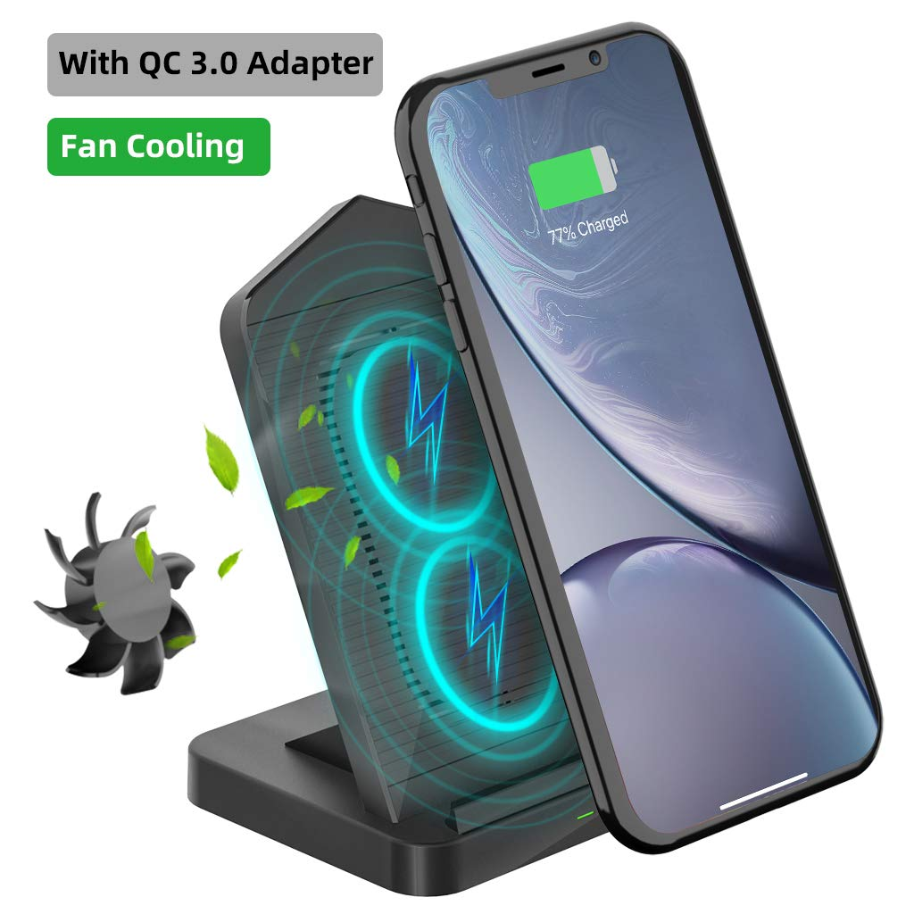 Wireless Charger with Cooling Fan,10W Qi-Certified Wireless Charging Stand, Compatible with iPhone 11 Pro Max/11 Pro/11/XS MAX/XR/X/8,Galaxy S10/S10 Plus/S10E/S9/Note 10/Note 9(with QC 3.0 Adapter)