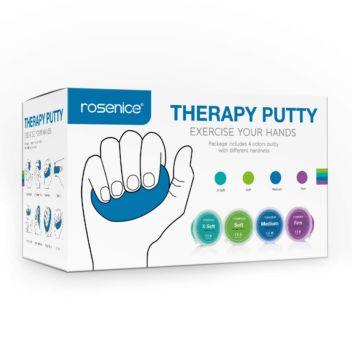 ROSENICE Therapy Putty - Theraputty Physical Therapeutic Exercise Putty for Finger, Hand and Grip Strength, Stress Relief Tools - X Soft, Soft, Medium, Firm (3-oz Each, 4 Pack)