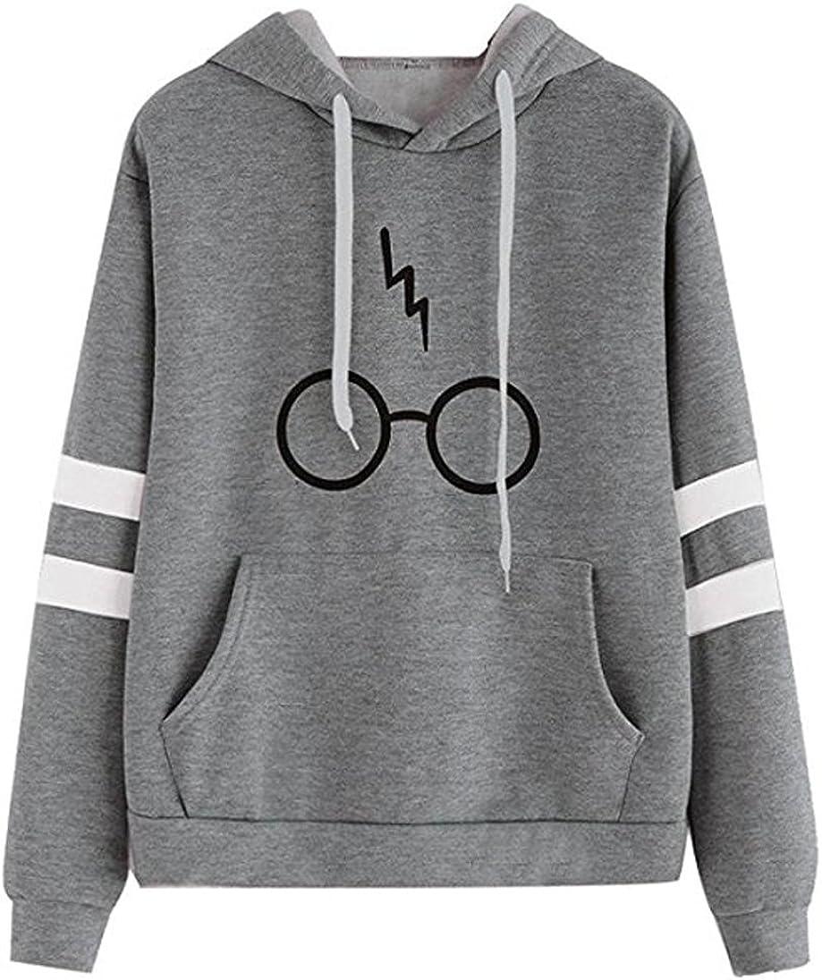 Nuevo Mujeres Sudaderas con Capucha Manga Larga Varsity Gafas de Harry Potter Encapuchado Camisa de Entrenamiento Tops Camisetas Deportes Sweatshirt Pullover Abrigo