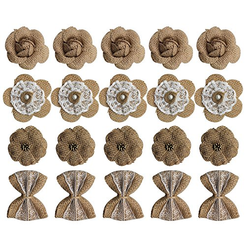 20PCS Handmade Burlap Rustic Lace Roses Flowers for DIY Craft Making and Christmas Home Wedding Party Decoration by CSPRING