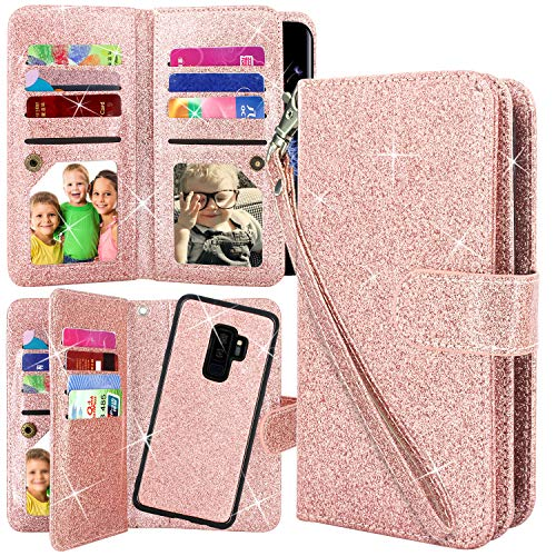 Galaxy S9 Plus Case, Harryshell Bling Sparkle Glitter 12 Card Slots Detachable Magnetic Wallet Shockproof PU Leather Flip Protective Case with Wrist Strap for Samsung Galaxy S9 Plus (2018) (Rose Gold)