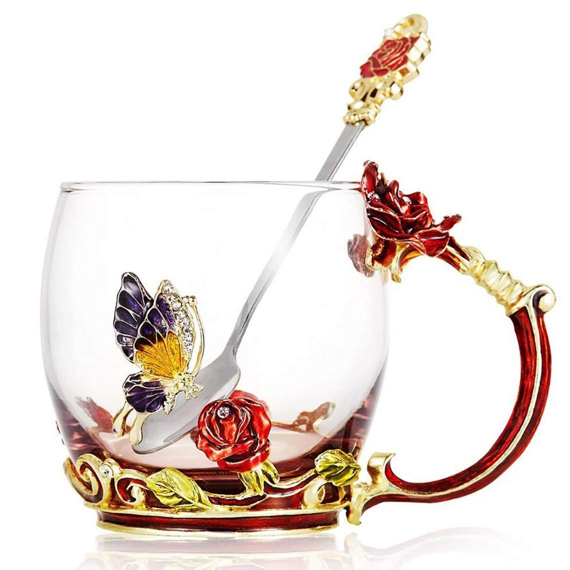 KKGO Tea Cups Coffee Mug with Spoon for Women Girls, Crystal Glass Unique Rose Flower Design Handmade Enamel Beautiful Tea Coffee Cup - Gift Set for Mom Grandma Wife Girlfriend Sisters Coworker JJLIFE GT-FLSS5087