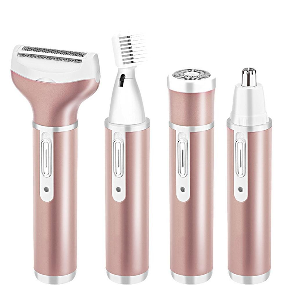 VASTING ART 4 in 1 Electric Shavers for Women Rechargeable, Eyebrow Trimmer, Nose Trimmer, Facial Shaver and Body Shaver, Waterproof Hair Removal Epilators (rose gold)