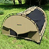 SUNOOM Double Canvas Swag Tent with Fire-Retardant Waterproof and Heat Preservation Fabric Material + Sleeping Pad / Mattress + Carry Bag (2 Person)