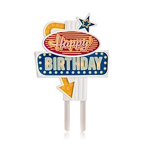 Suck.UK SK HB1 Flashing Cake Topper - Happy Birthday, Multicolor