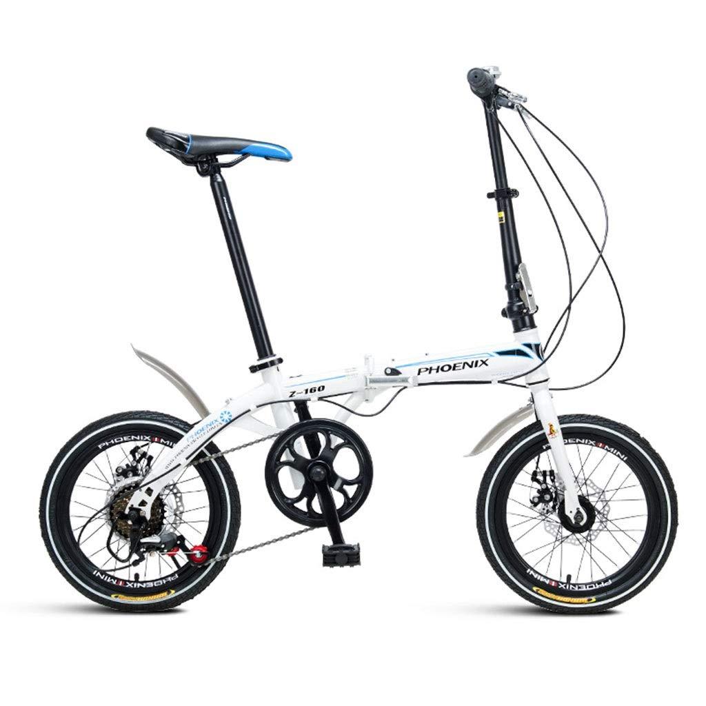 折りたたみ自転車 折りたたみ自転車16インチ自転車軽量成人男性と女性の屋外折りたたみ自転車 (Color : 白, Size : 130*30*83cm) 130*30*83cm 白 B07PRBPQ3W