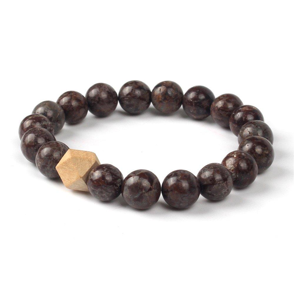 Shinus?Women Mala Chakra Bronzite Stone Boho Bracelets Mix Natural Wood Charm Healing Handmade Jewelry for Meditation
