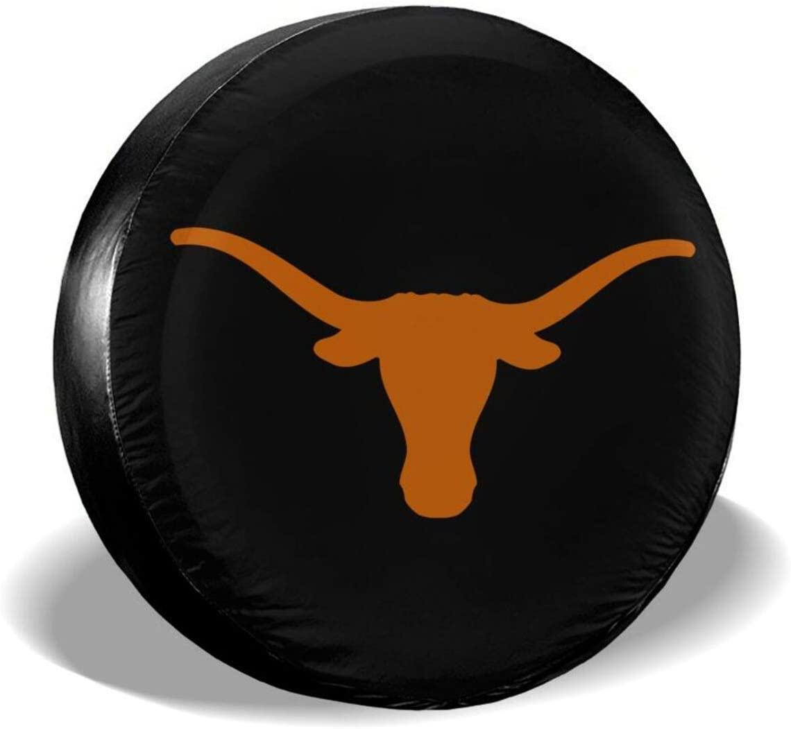 Texas Long Teams Horn Waterproof Universal Spare Wheel Tire Cover 15 Inch for Car Truck SUV RV Camper Trailer