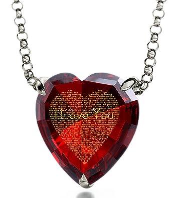 Collar de plata, corazón de circonita y «I love you» (120 idiomas) en oro 24ct – Regalo romántico único