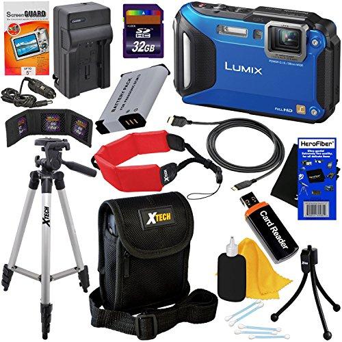 Panasonic Lumix DMC-TS5A 16.1 MP Tough Digital Camera with Wi-Fi & 9.3x Zoom, Blue (International Version) + Battery & AC/DC Charger + 11pc 32GB Dlx Accessory Kit w/ HeroFiber Cloth (Lcd Panasonic Tv 32)