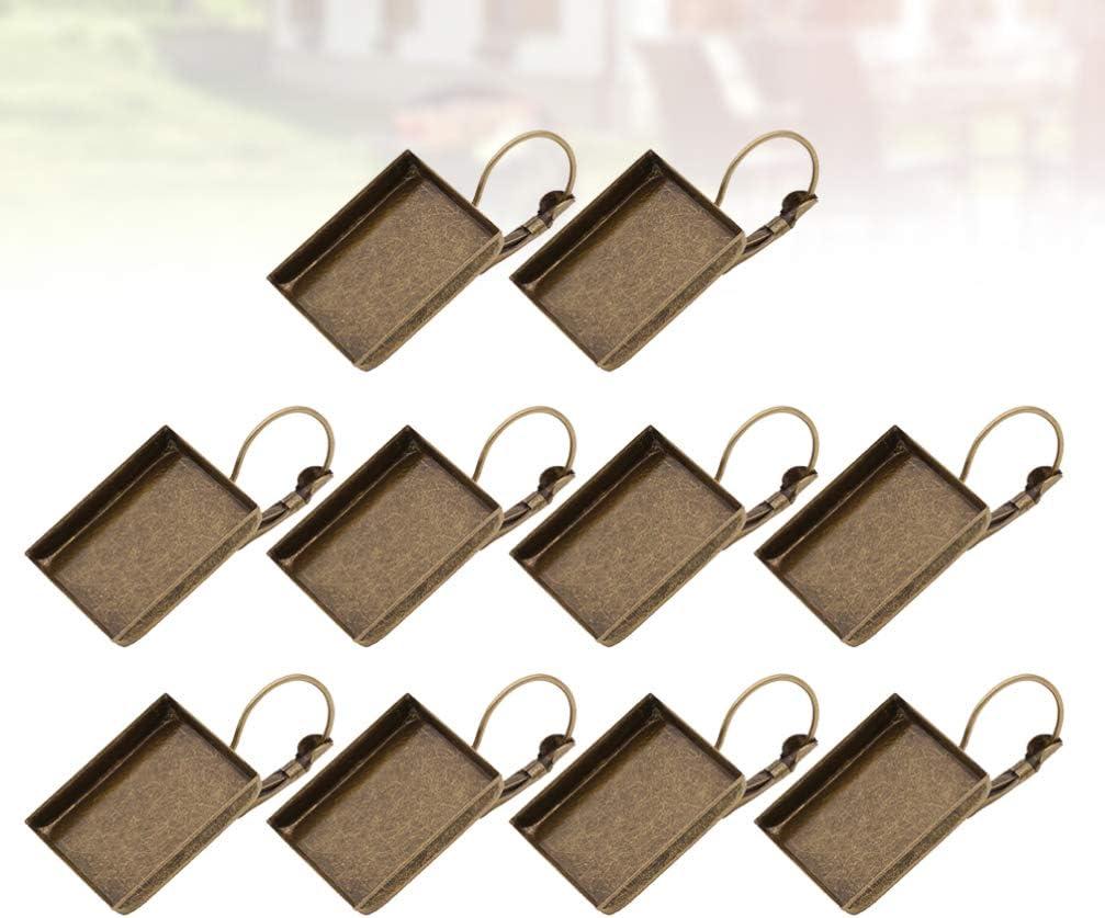 Healifty 10 Piezas de Bisel de Pendiente Ajuste de Pendiente Cuadrado Clips de Oreja en Blanco Bandeja de Base para Pendientes Pendientes Fabricaci/ón de Joyas Artesanales Bronce de 16 Mm