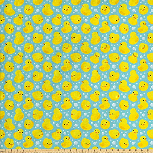 bric by The Yard, Cute Happy Rubber Duck and Bubbles Cartoon Pattern Childhood Kids Theme Art, Decorative Fabric for Upholstery and Home Accents, 2 Yards, Aqua and Yellow ()