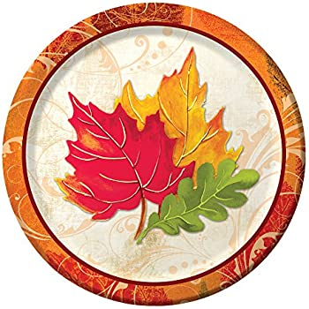 Sturdy Style Paper Dessert Plates Fall Flair 8-Count  sc 1 st  Amazon.com & Amazon.com: Autumn Fall Leaves Party Paper Plates and Napkins Set by ...
