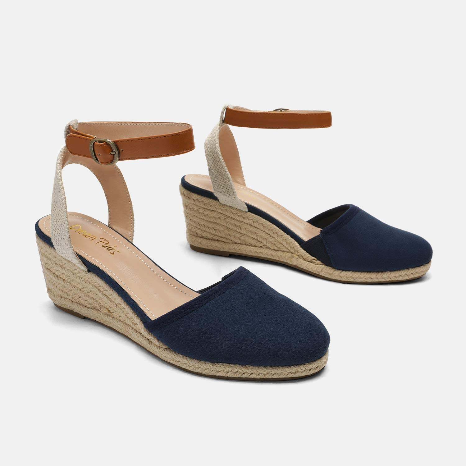 DREAM PAIRS Womens Ankle Strap Espadrilles Wedge Sandals