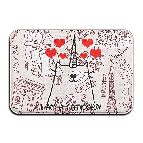 Eiffel Tower Louvre - Ashasds Cushion I Am A Caticorn France Romantic Paris Triumphal Arch Eiffel Tower Louvre Metro Cafe Home Decorations Rug Rectangle Size 18x30,Multi-function Indoor Outdoor Beautiful Doormat