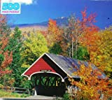 Golden Franconia Notch, NH Pemigewasset River Red Covered Bridge 500 Piece Jigsaw Puzzle 16 x 18