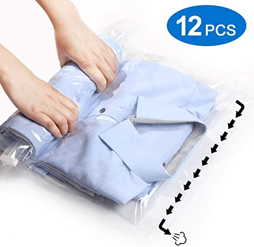 Set of 12 Hand Roll Up Vacuum Storage Bags Space Saver Bags for Travelling/& Home