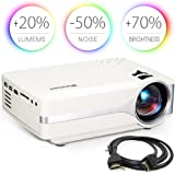 Blusmart LED-9400 Video Projector, 2018 Upgraded +70% Brightness Portable Mini Projector with Full HD 1080P for Home Theater, -50% Noise, Compatible with Fire TV Stick HDMI/USB/SD Card/XBOX