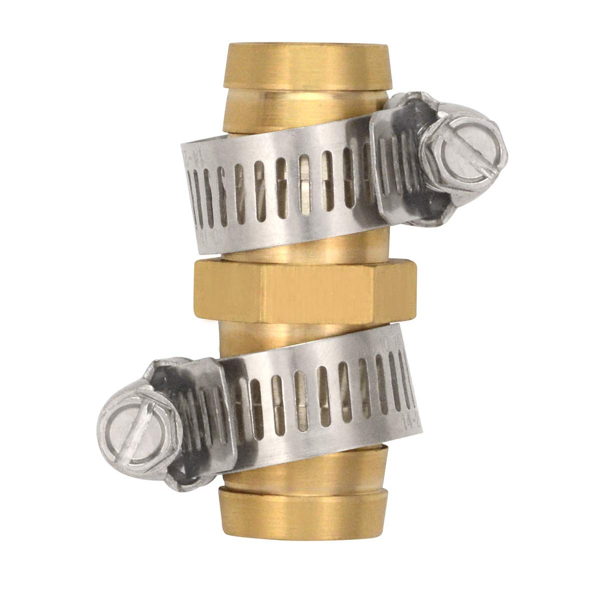 """Gardening Will 5 Pack Brass Barb Straight Joiner 5/8"""" Hose Fitting Air Water Repair Splicer Mender with Clamps"""