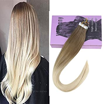 VeSunny 18inch Balayage Blonde Tape in Hair Extensions Human Hair Straight  Dark Golden Blonde