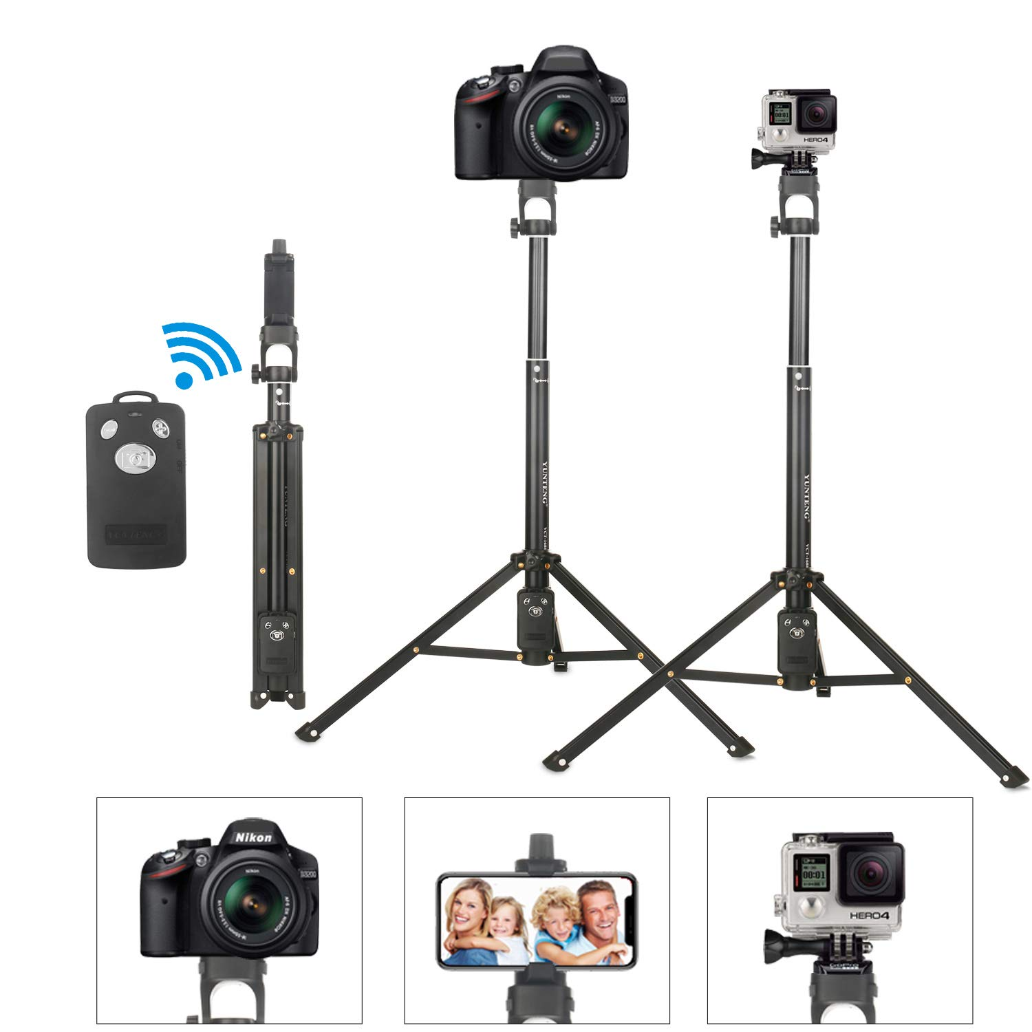 Selfie Stick Tripod, Extendable Camera Tripod,Phone Tripod Included Bluetooth Wireless Remote for Apple,Android Devices,Compatible with iPhone X/8/8 Plus/Galaxy Note 9/S9/Google,Gopro Adapter.