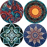 LogHog Ceramic Coaster Set of 4, Glass Cup Holder Coffee Mug Place Mats Absorbent Stone Coasters for Drinks (Pattern 6)