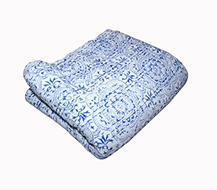 Indian Hand Block Print Kantha Quilt Queen Reversible Bedspread Cotton Bedding Outstanding Features Quilts, Bedspreads & Coverlets