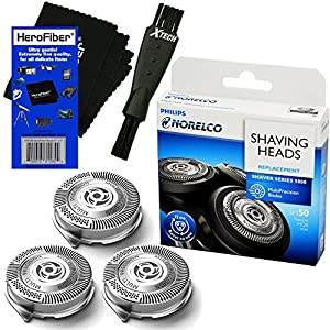 Philips Norelco SH50/52 Replacement Head for Series 5000, PowerTouch (PT8__, PT7__) & AquaTouch (AT8__, AT7__) Electric Shavers + Double Ended Shaver Brush + HeroFiber Ultra Gentle Cleaning Cloth