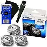 Cheap Philips Norelco SH50/52 Replacement Head for Series 5000, PowerTouch (PT8__, PT7__) & AquaTouch (AT8__, AT7__) Electric Shavers + Double Ended Shaver Brush + HeroFiber Ultra Gentle Cleaning Cloth