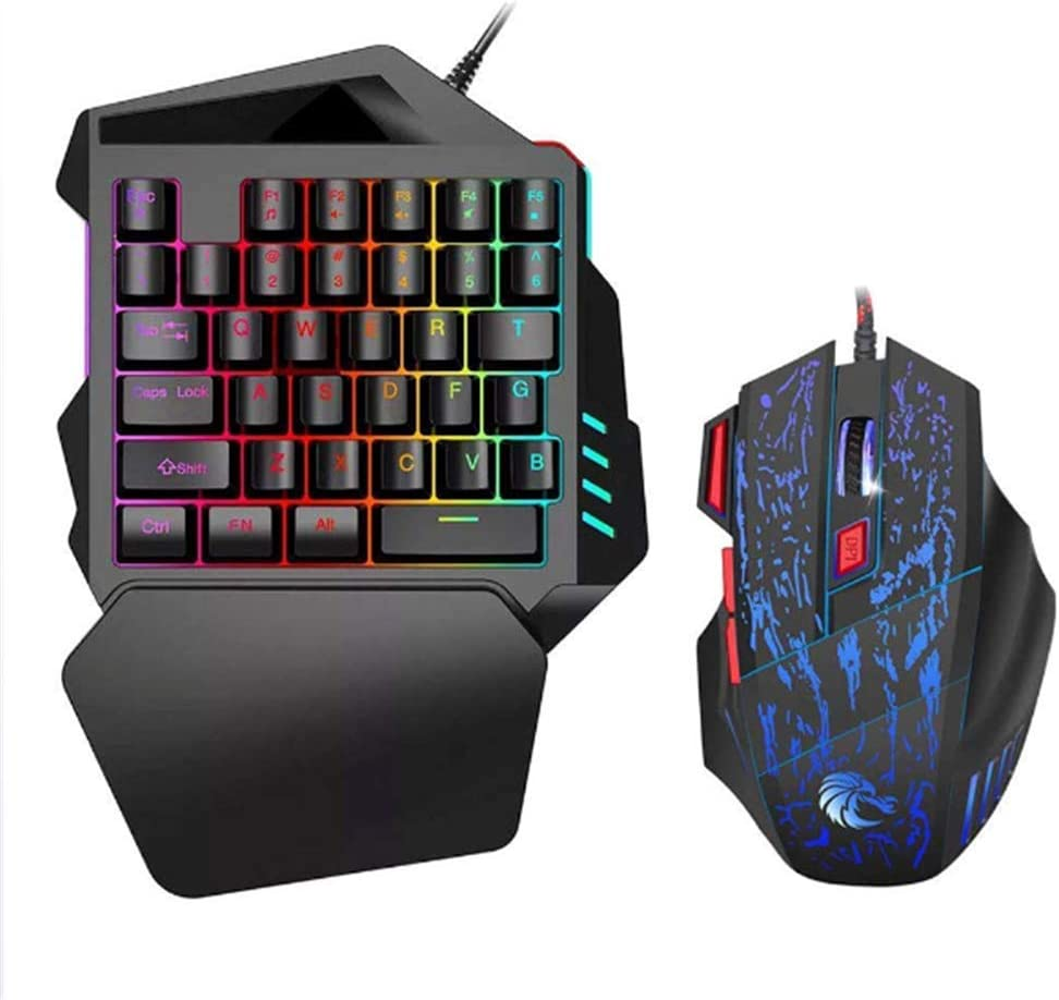One-Handed Gaming Keyboard Mouse Combo,USB Left Hand Mechanical Feel and Small Compact Mini 35 Keys Portable Gaming Keyboard with Color LED Backlight