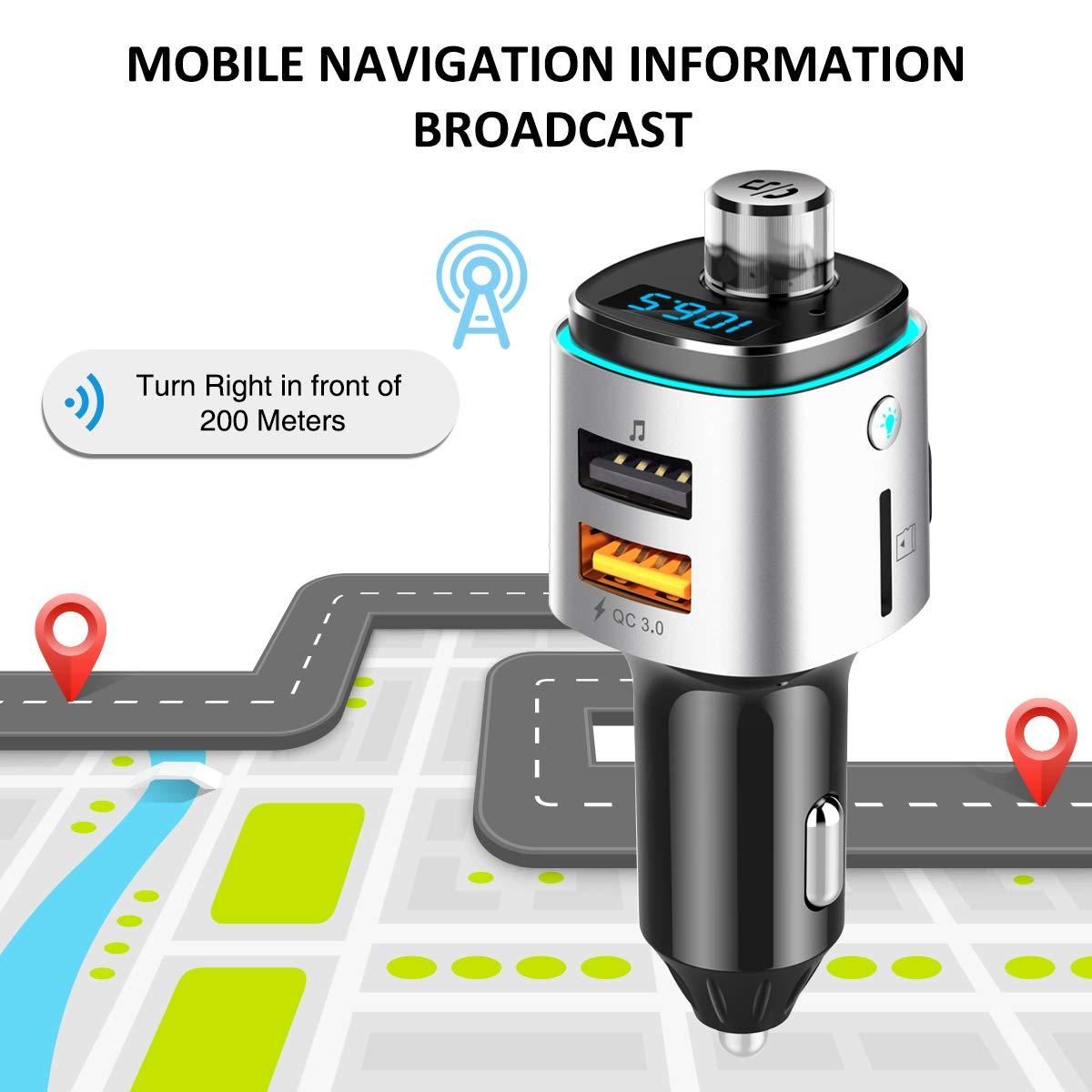 Transmetteur FM Bluetooth AceTend Transmetteur FM Kit de Voiture Mains Libres sans Fil Adaptateur Radio Chargeur de Voiture avec QC3.0