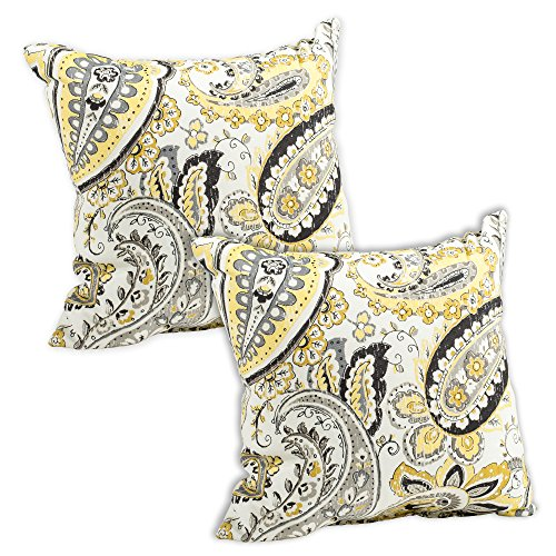 Hadia Goldmine Paisley Grey and Yellow Print 16 x 16 Indoor Outdoor Throw Pillow - Pack of 2 (Pillows Paisley Grey)