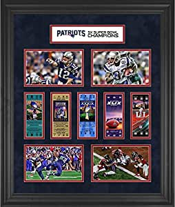 "New England Patriots Framed 23"" x 27"" 5-Time Super Bowl Champion Ticket Collage - Fanatics Authentic Certified"